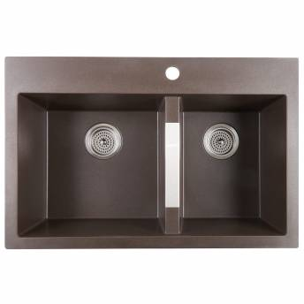 Double Bowl Granite Sink Brown