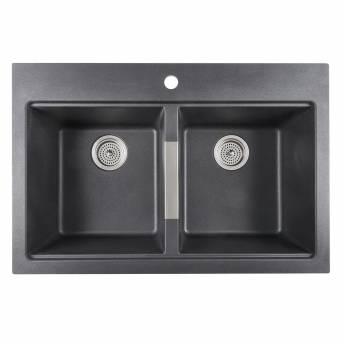 Double Bowl Granite Sink Black