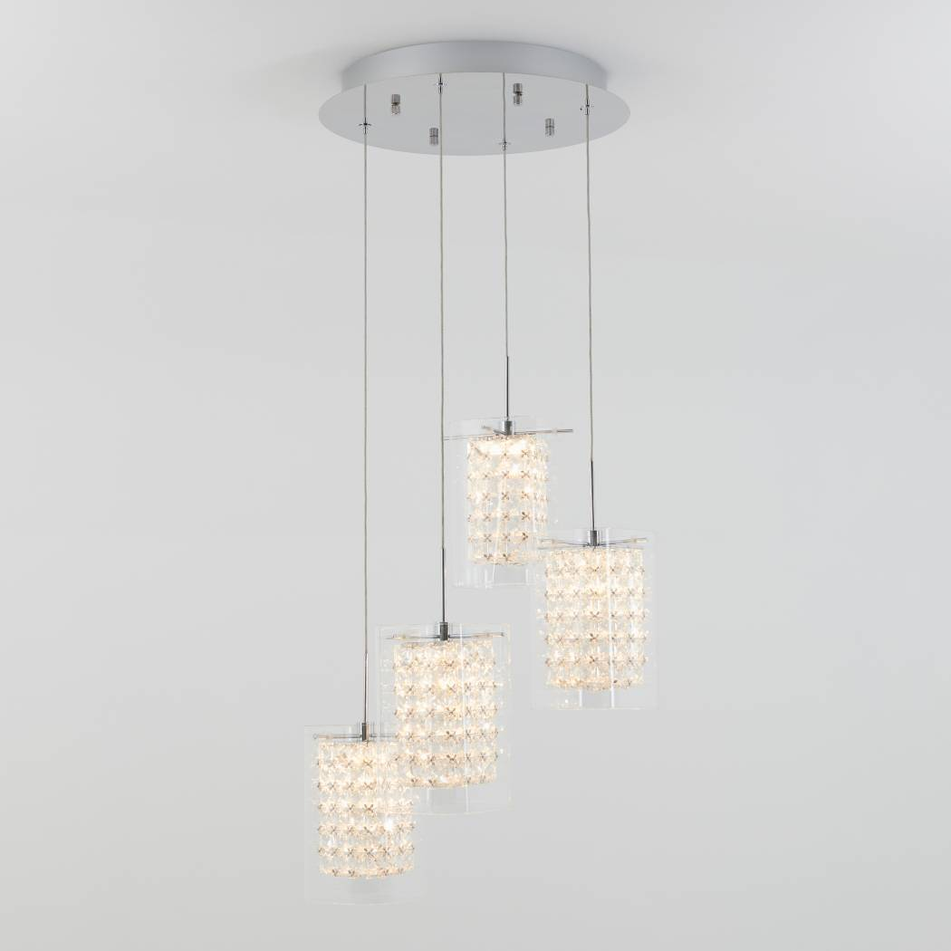 Crystal Cube 4-light LED Pendant Light