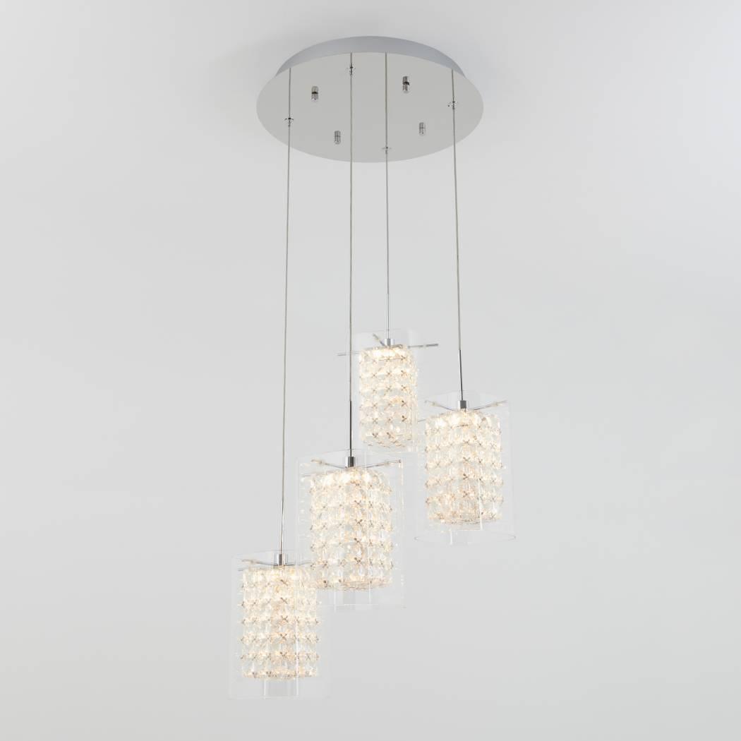 Crystal Cube 4-light LED Pendant Light