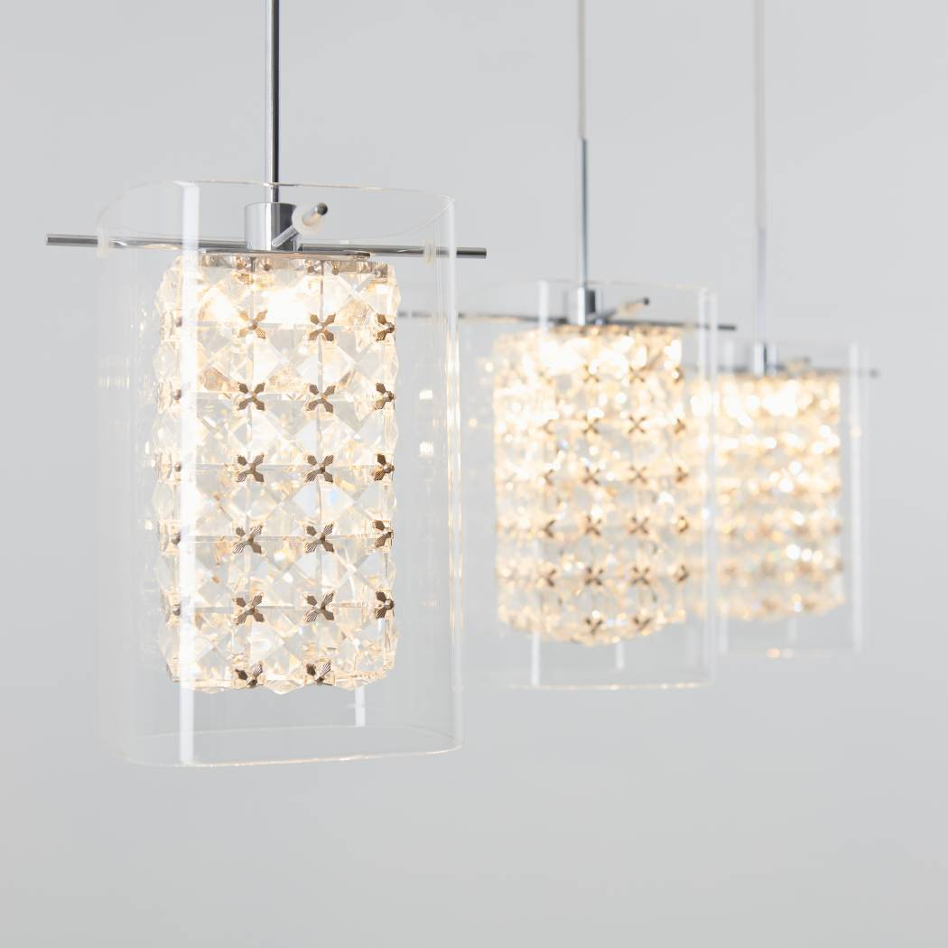 Crystal Cube 3-light LED Pendant Light