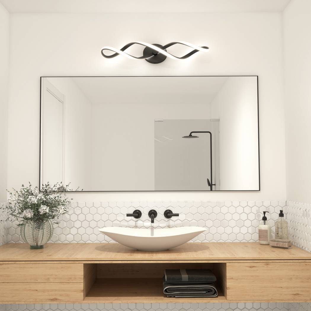 Swirl Integrated LED Vanity Light Black