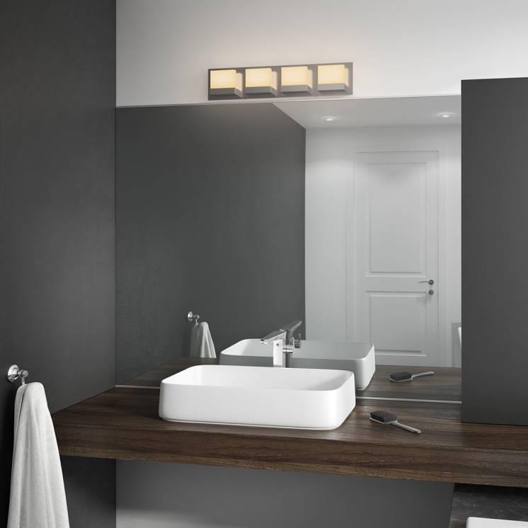 Frosted Cubes Applique meuble lavabo à 4 lumières DEL