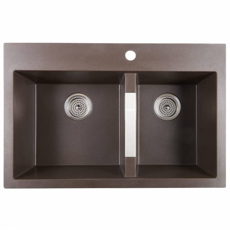Double Bowl Granit Sink Brown