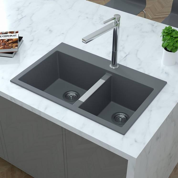 Double Bowl Granite Sink Grey