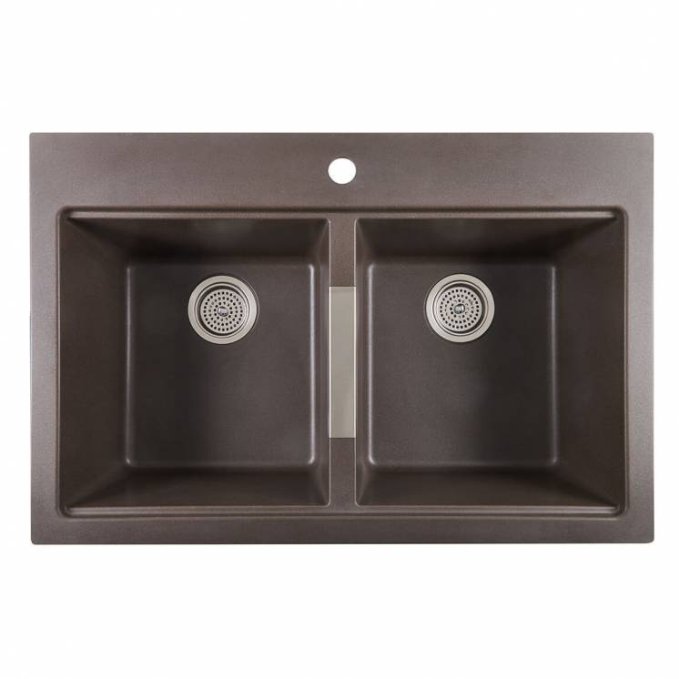 Twin Bowl Granite Sink Brown