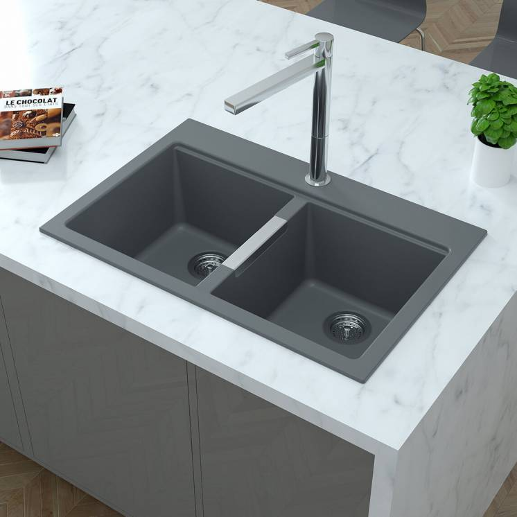 Baltic Double Bowl Granite Sink Grey