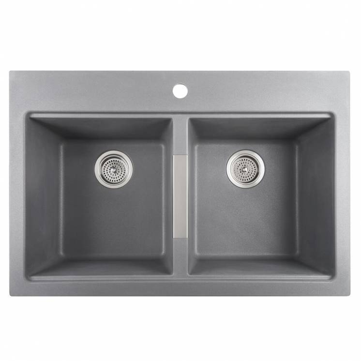 Twin Bowl Granite Sink Grey