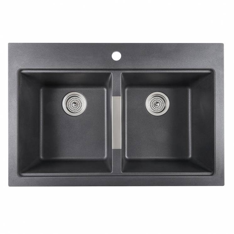 Twin Bowl Granite Sink Black