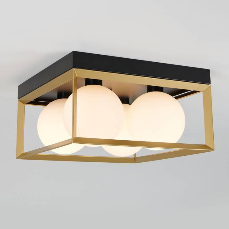 Vivian Integrated LED Flush Mount Black and Gold