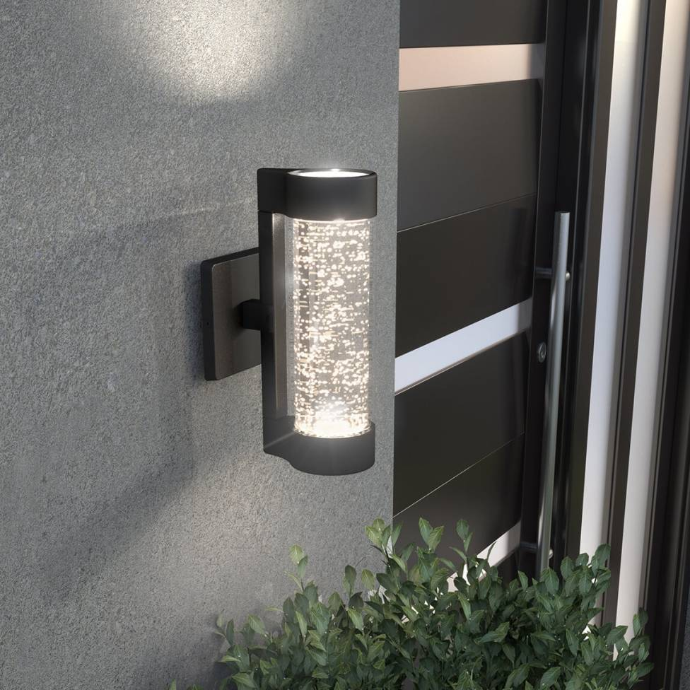 Bubble Flow Integrated LED Black Outdoor Light