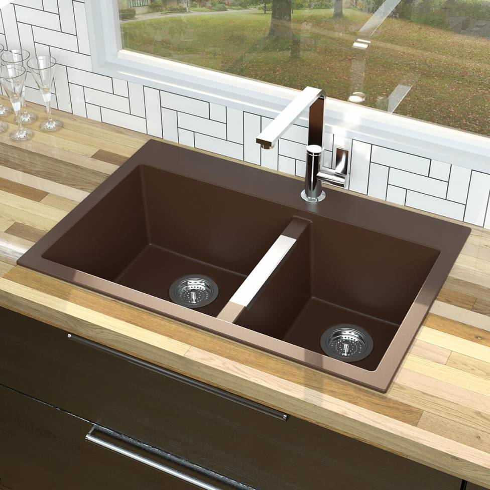 Double Bowl Granit Sink Brown