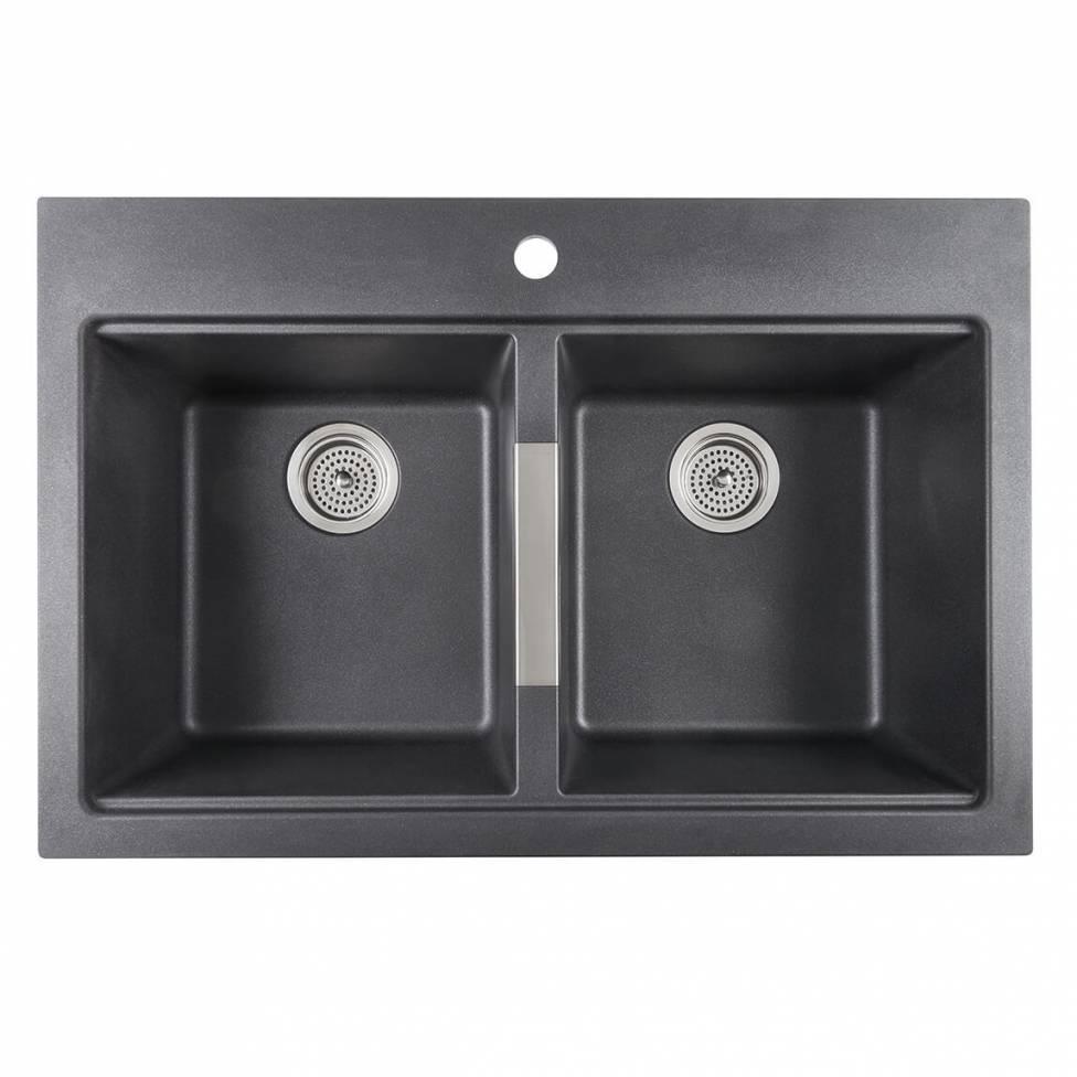 Twin Bowl Granite Sink Black