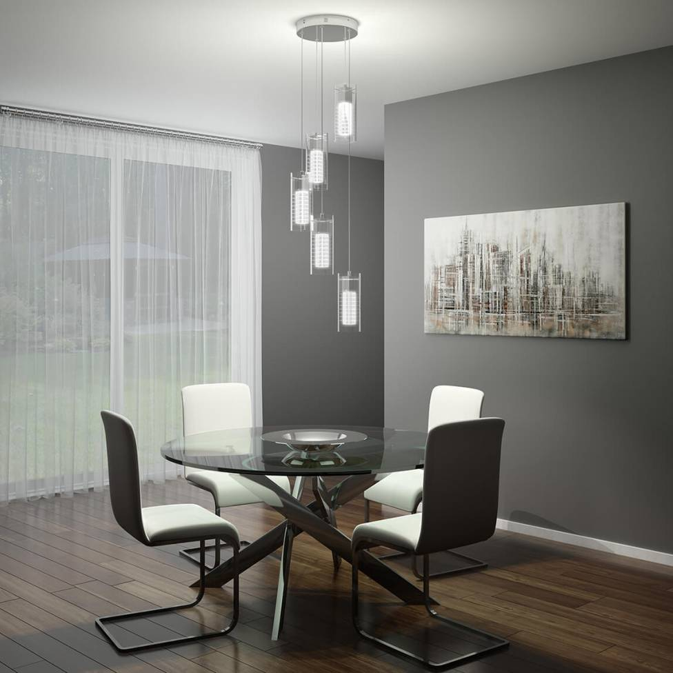 Hologram 5-light Integrated LED Pendant