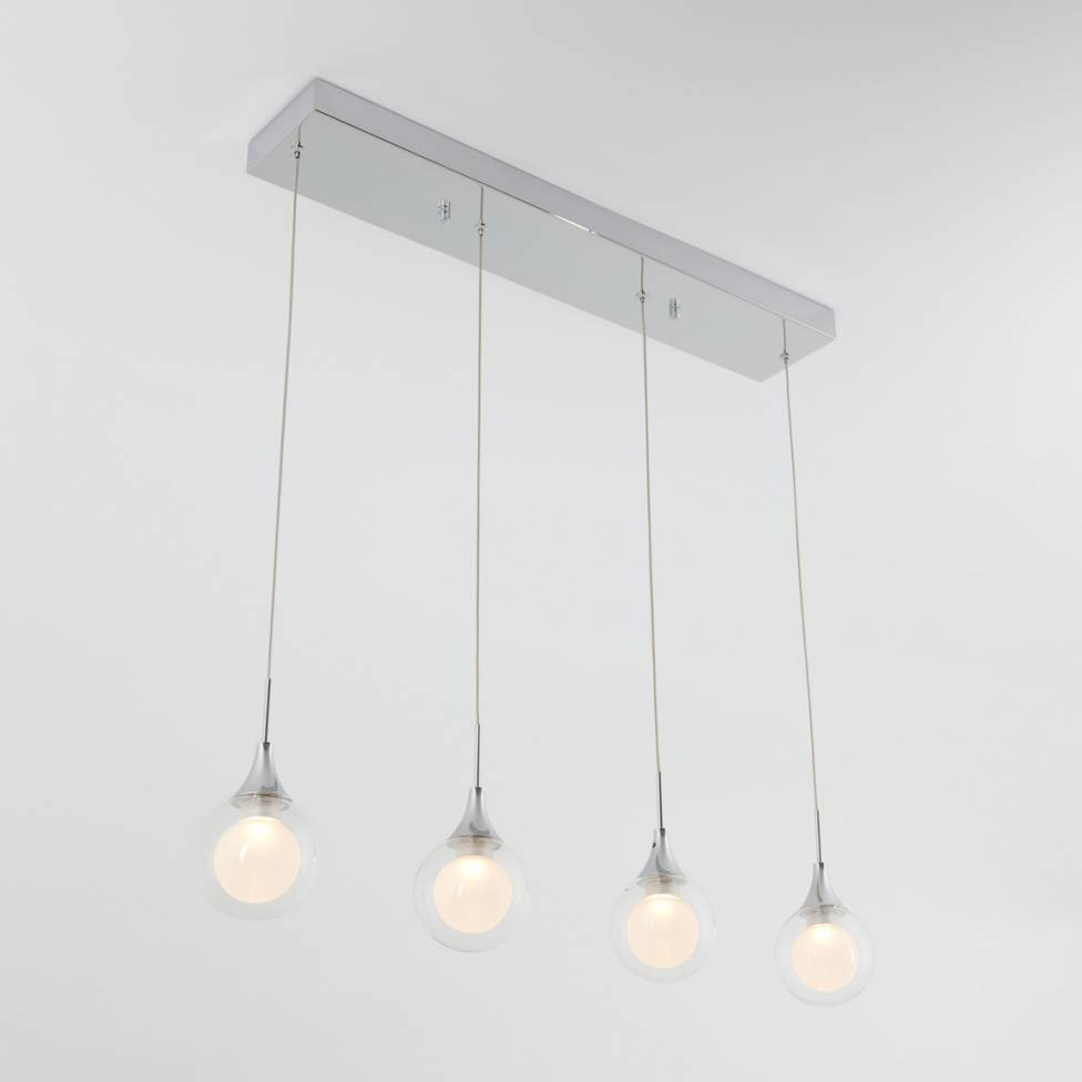 FROSTED GLOBE 4-LIGHT INTEGRATED LED PENDANT