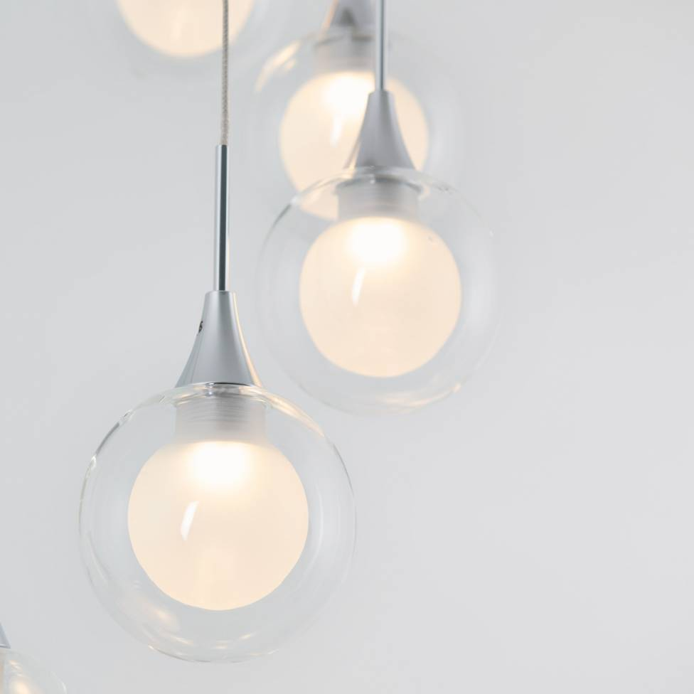 FROSTED GLOBE 7-LIGHT INTEGRATED LED PENDANT