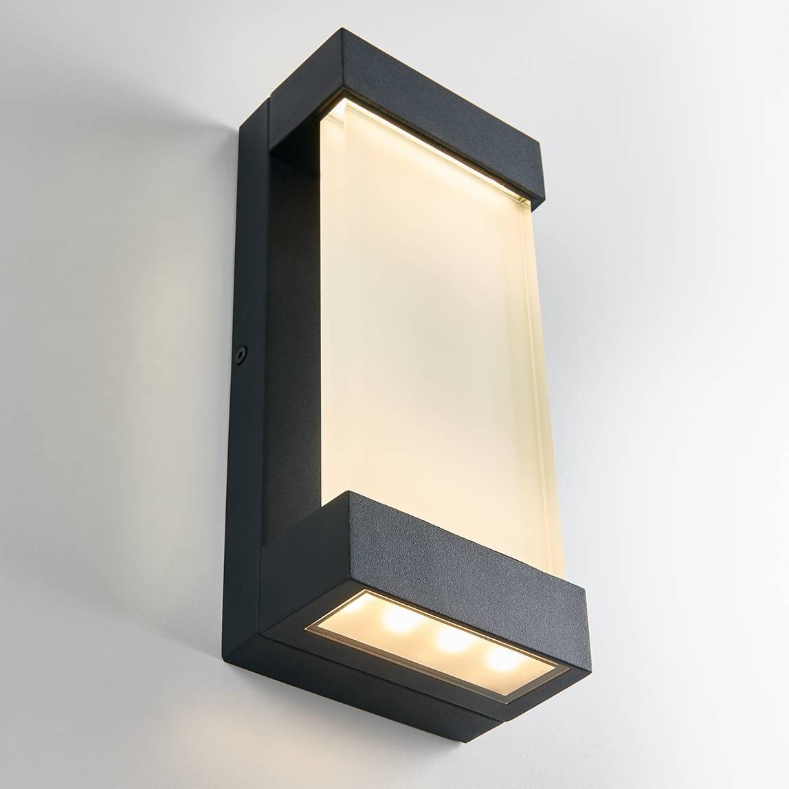 Glacier Black Integrated LED Outdoor Wall Light